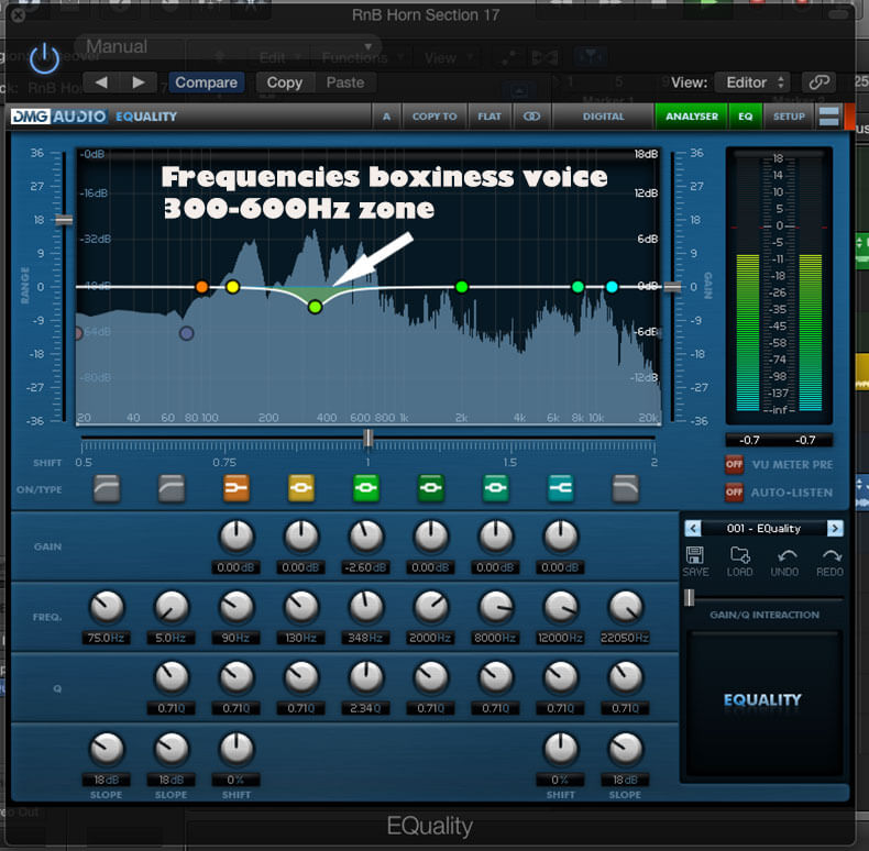 Frequencies boxiness voice
